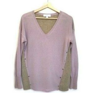 ELORIE 100% Cashmere colorblock sweater